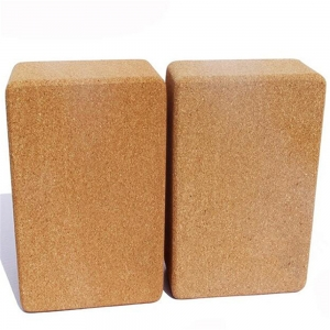 3*6*9 inch wooden color cork yoga blocks for exercises