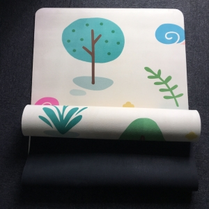cute  printed fabric rubber yoga mats supplier